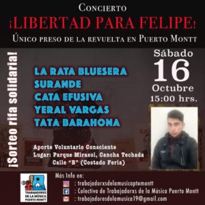 Afiche por la libertad del preso de la revuelta, Felipe Santana.