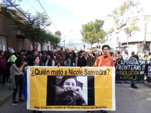 Manifestación por la joven lesbiana Nicole Saavedra. Imagen: Inicia el juicio por Nicole Saavedra a cinco años del lesbofemicidio
